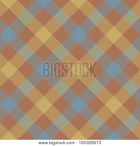 Brown beige diagonal checkered plaid seamless pattern. Vector illustration. EPS 10.