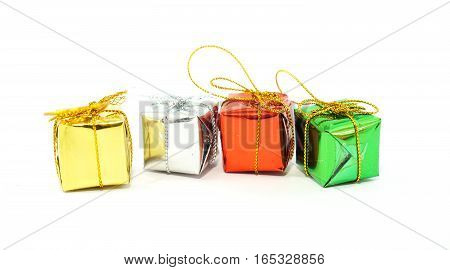 Gift box wrapped of colorful. Christmas gift box. Style isolated on white background.