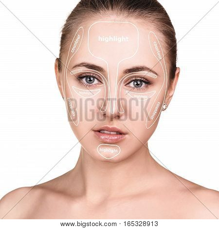Contour and highlight tutorial makeup. Professional contouring face make-up sample