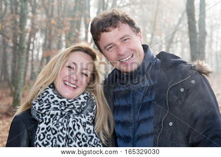 A Couple Man Happy Woman In The Winters