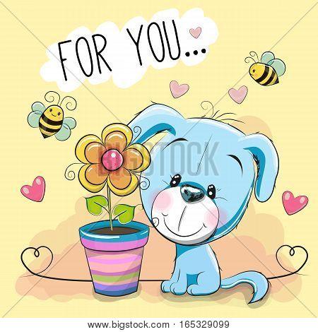Greeting card cute cartoon blue Puppy with flower
