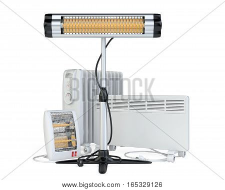 Home equipment for heating halogen or infrared convector quartz and oil heater. High quality 3d illustration isolated on a white background.