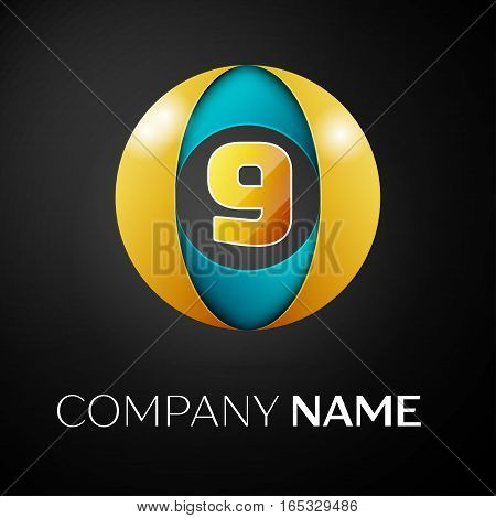 Number nine vector logo symbol in the colorful circle on black background. Vector template for your design