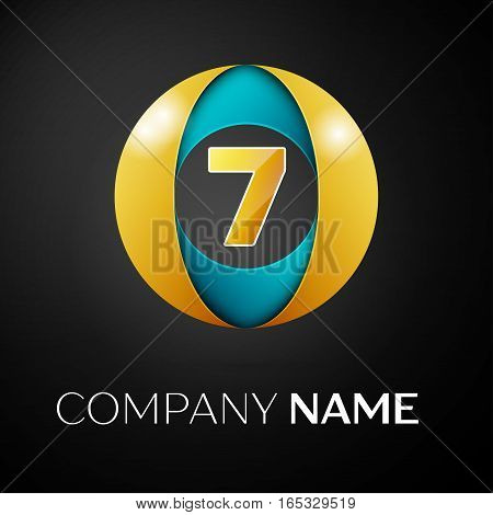 Number seven vector logo symbol in the colorful circle on black background. Vector template for your design