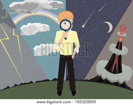 boy with magnifying glass against natural phenomena background - vector illustration of kid interested in science