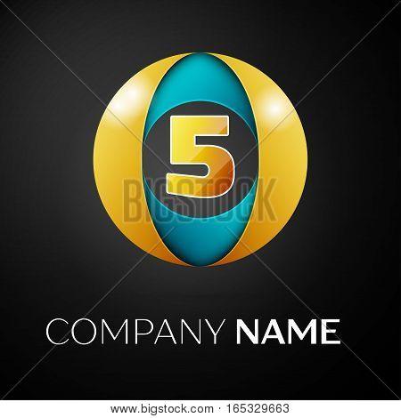 Number five vector logo symbol in the colorful circle on black background. Vector template for your design