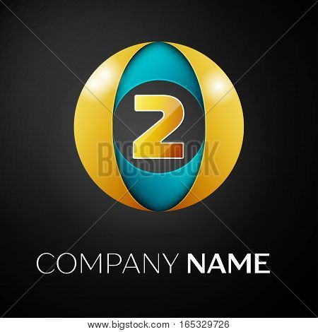 Number two vector logo symbol in the colorful circle on black background. Vector template for your design