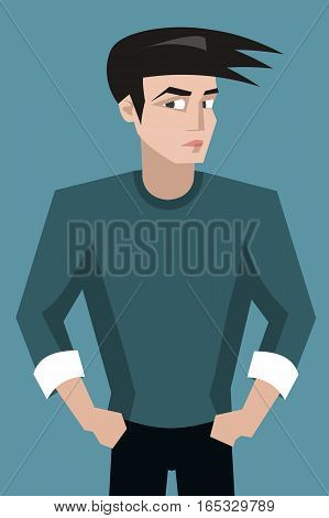 handsome young man portrait with close look -  vector cartoon character illustration