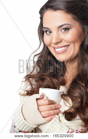 woman with cup of tea, close up