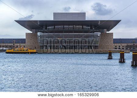 View from across the river of Copenhagen Opera House in Denmark