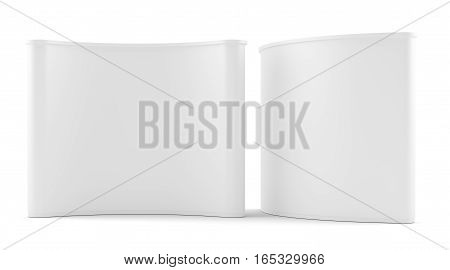 Two trade exhibition round stand. Advertising space on white background. Isolated. 3D rendering