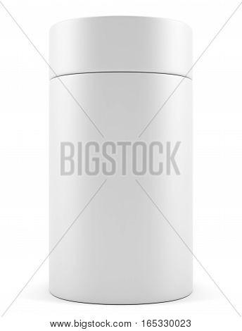 Blank advertising cylinder on white background. 3D illustration