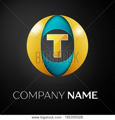 Letter T vector logo symbol in the colorful circle on black background. Vector template for your design