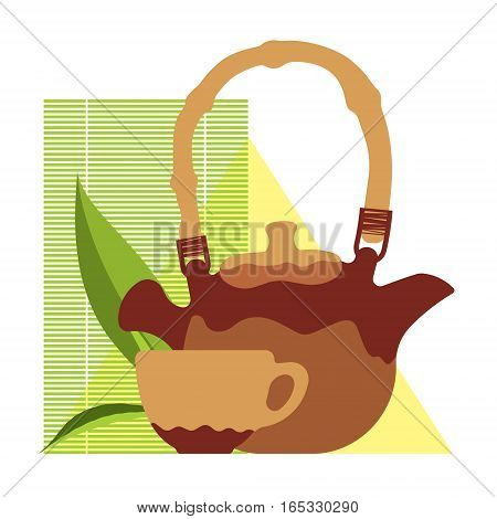 craft teacup and kettle, leaf of tea, tea ceremony