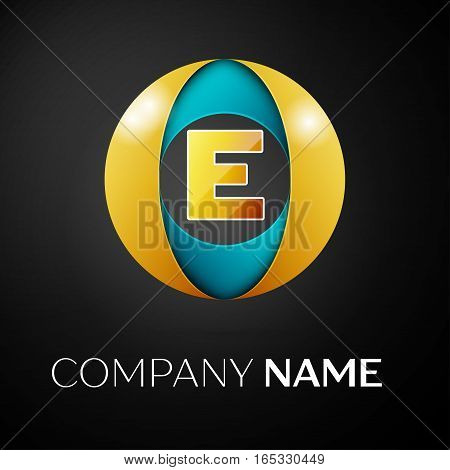 Letter E vector logo symbol in the colorful circle on black background. Vector template for your design