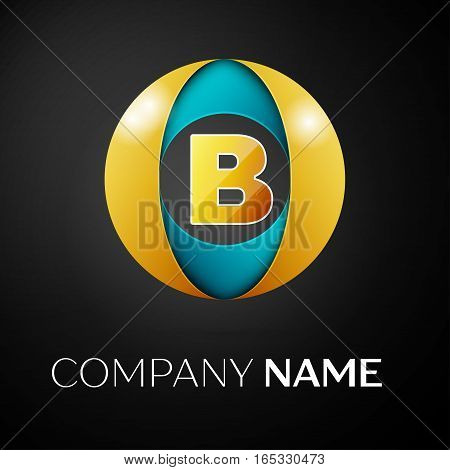 Letter B vector logo symbol in the colorful circle on black background. Vector template for your design