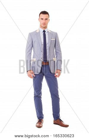 Young Business Man In Blue Blazer, Isolated On White Background