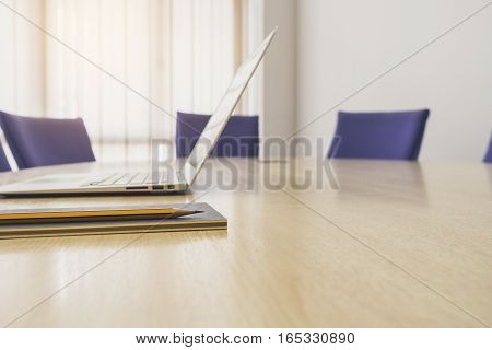 Laptop on Table with seats Business Office Meeting Boardroom