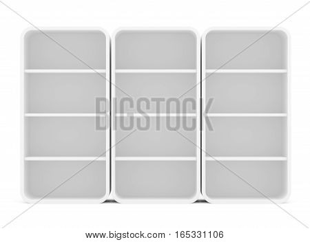Three empty rotated retail shelves. Front view. Template. 3D Illustration, Isolated on white