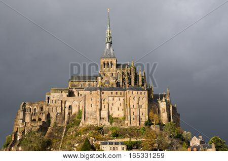 Closeup of Le-Mont-Saint-Michel in France on a stormy day