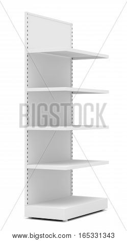 White Empty Retail Shelves. Side View. Isolated On White Background. 3D Illustration