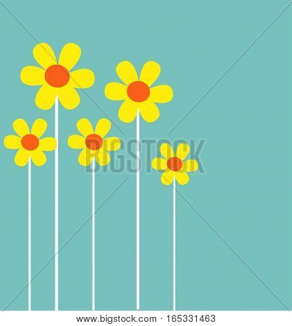 colorful yellow spring flowers illustration art design