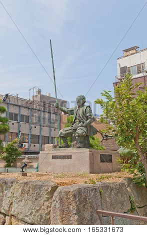 FUKUI JAPAN - AUGUST 02 2016: Statue of Shibata Katsuie on the ruins of Kitanosho castle in Fukui Japan. Katsue lost the Battle of Shizugatake in 1583 burnt the castle killed his wife and himself