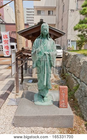 FUKUI JAPAN - AUGUST 02 2016: Statue of Oichinokata the wife of Shibata Katsuie on the site of former Kitanosho castle in Fukui Japan. Katsue burnt the castle in 1583 killed his wife and himself