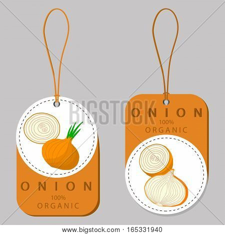 Abstract vector illustration logo for whole ripe vegetables round onion,with green stem,cut sliced.Onion drawing consisting of tag label bow,peel fruits,pip ripe sweet food.Eat fresh onions health.