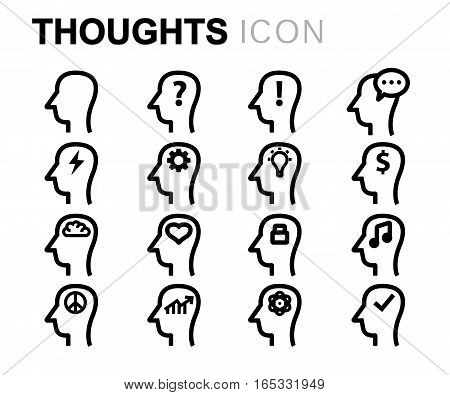 Vector line thoughts icons set on white background
