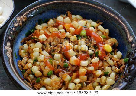 Vietnamese Street Food, Corn Fried Dried Shrimp