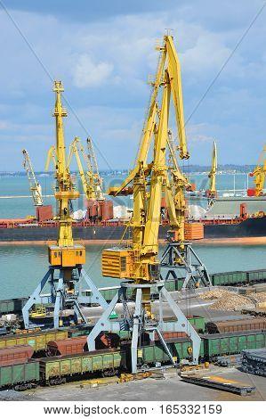 Bulk Cargo Ship And Train Under Port Crane