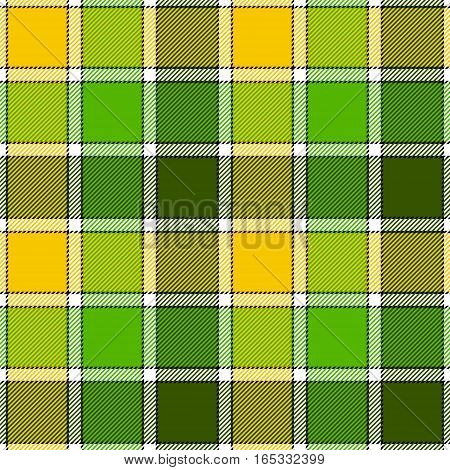 Green yellow check plaid seamless pattern. Vector illustration. Flat design. EPS10.