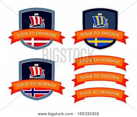 Coat of Arms with Illustrations of Scandinavian Drakkars and Flags of Countries. Set of Ribbons with Captions. Vector Emblem Set with Coat of Arms of Scandinavia isolated on white.