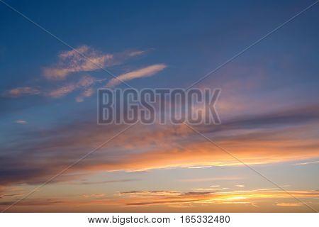Colourful background of dramatic sunset or sunrise sky