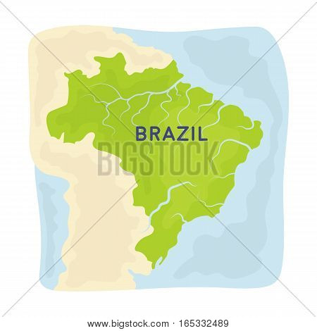 Territory of Brazil icon in cartoon design isolated on white background. Brazil country symbol stock vector illustration.