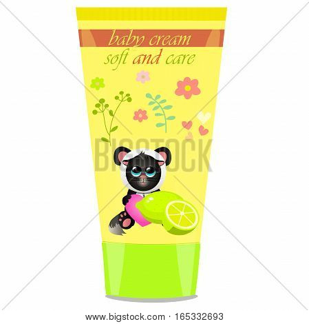 High quality original trendy vector Baby cream tube with kids design and cat in panda suit, lime illustration