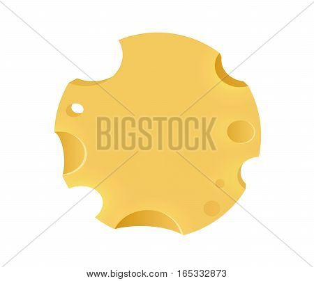 Emblem with Porous Cheese Round Form. Illustration with Copy Space isolated on White Background