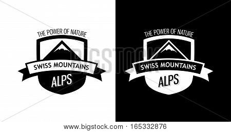 Emblem with Swiss Mountains. Alps of Switzerland on Style Modern Badge isolated on White and Black color.