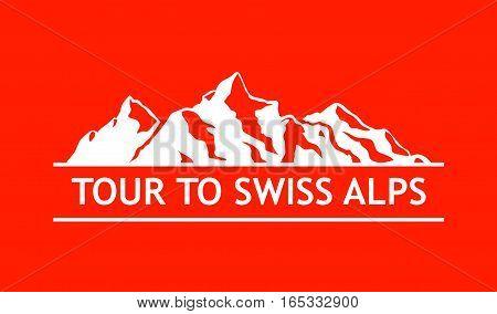 White Logo of Swiss Mountains isolated on White Background.