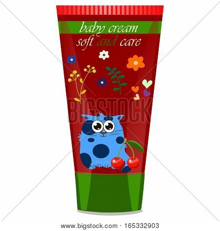 High quality original trendy vector Baby cream tube with kids design and cat, cherry illustration