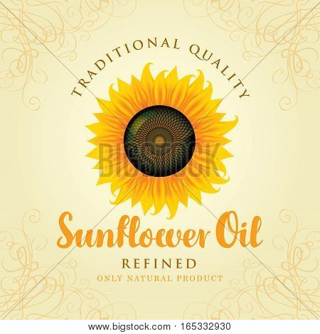 vector banner for refined sunflower oil with sunflower