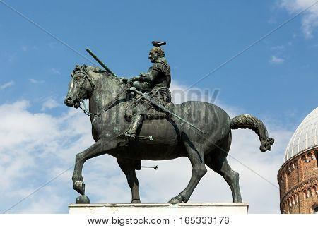 PADUA, ITALY - MAY 3, 2016: Equestrian statue of Gattamelata in Padua Italy