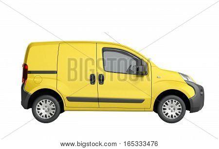 3D Render Of Yellow Delivery Van Icon No Shadow