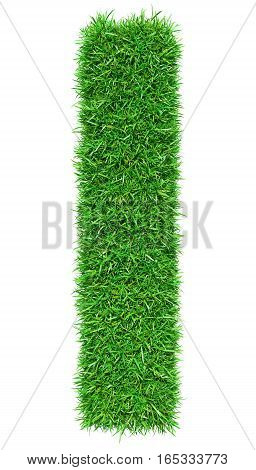 Green Grass Letter I. Isolated On White Background. Font For Your Design. 3D Illustration