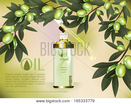 Skin serum toner template, glass droplet bottle with olive branch background 3D illustration