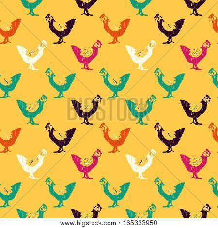 Vector hand drawn seamless pattern with chickens. Farm animal theme. Colored chicken pattern for textile paper book game cards banner web design.