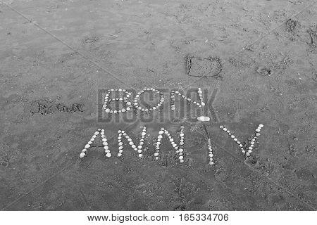 HAPPY BIRTHDAY ON THE BEACH OF THE TOUQUET, PAS -DE-CALAIS, HAUTS-DEFRANCE, FRANCE
