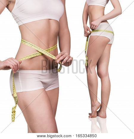 Beautiful woman body with measurement tape isolated on white