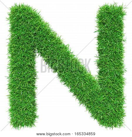 Green Grass Letter N. Isolated On White Background. Font For Your Design. 3D Illustration